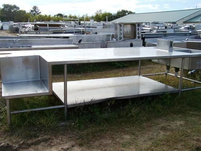 used stainless steel table with sink  1